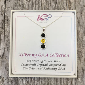 Kilkenny GAA Colours Sterling Silver & Swarovski Pendant Necklace - Shuul