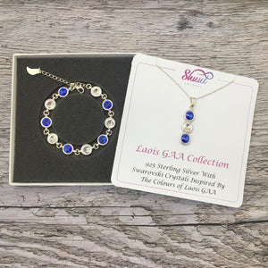 Laois GAA Colours Sterling Silver Swarovski Necklace & Bracelet Set - Shuul
