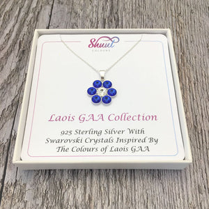 Laois GAA County Colours 7 Drop Sterling Silver Pendant - Shuul