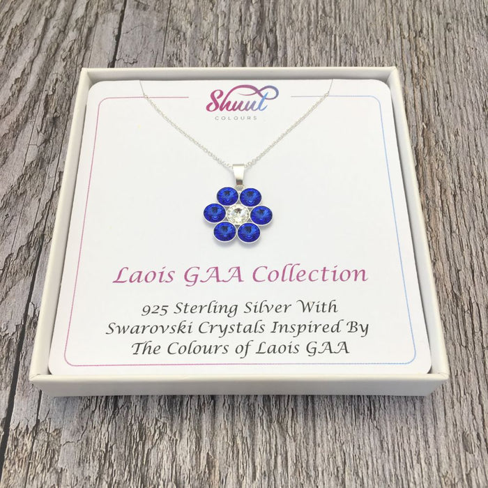 Laois GAA County Colours 7 Drop Sterling Silver Pendant