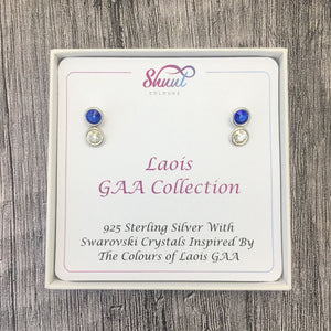 Laois GAA Colours Sterling Silver Swarovski Earrings - Shuul