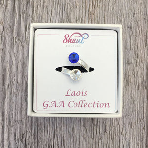 Laois GAA Sterling Silver Ring with Swarovski Crystals - Shuul