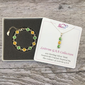 Leitrim GAA Colours Sterling Silver Swarovski Necklace & Bracelet Set - Shuul