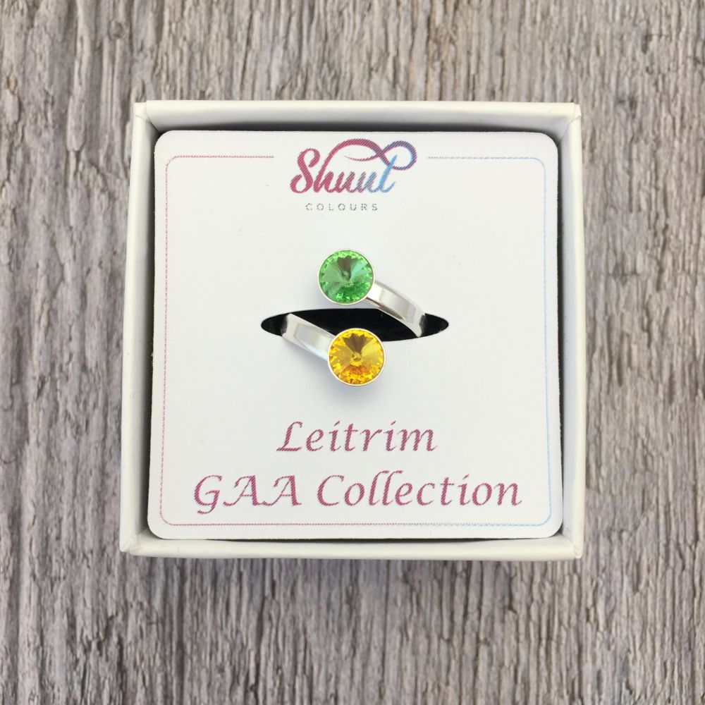Leitrim GAA Sterling Silver Ring with Swarovski Crystals - Shuul