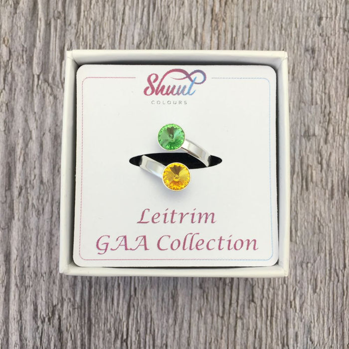 Leitrim GAA Sterling Silver Ring with Swarovski Crystals