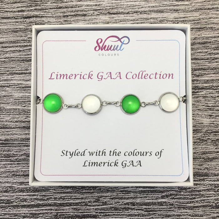 Limerick GAA Ladies County Colours Cabochon Bracelet