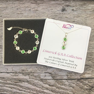 Limerick GAA Colours Sterling Silver Swarovski Necklace & Bracelet Set - Shuul