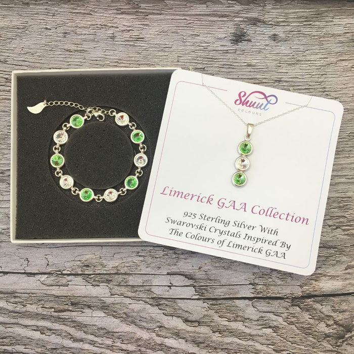 Limerick GAA Colours Sterling Silver Swarovski Necklace & Bracelet Set