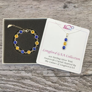 Longford GAA Colours Sterling Silver Swarovski Necklace & Bracelet Set - Shuul