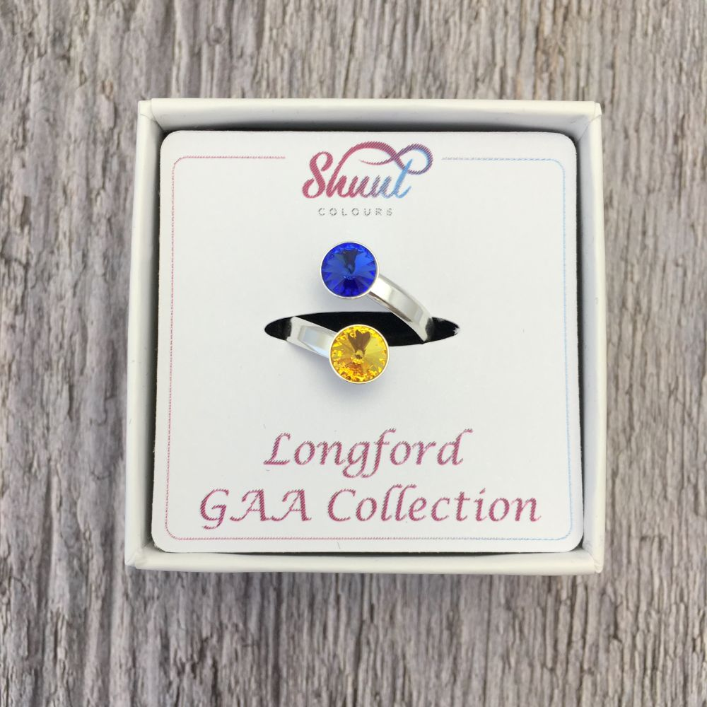 Longford GAA Sterling Silver Ring with Swarovski Crystals - Shuul
