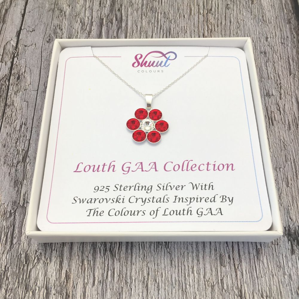 Louth GAA County Colours 7 Drop Sterling Silver Pendant
