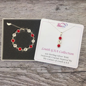 Louth GAA Colours Sterling Silver Swarovski Necklace & Bracelet Set - Shuul