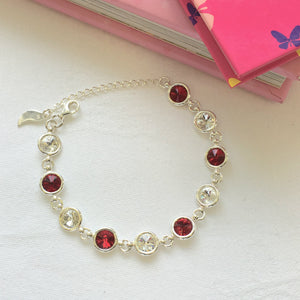 Westmeath GAA Colours Inspired Sterling Silver Bracelet With Swarovski Crystals - Shuul