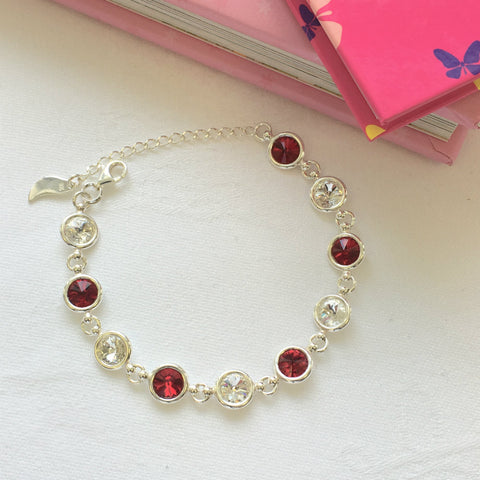 Galway GAA Colours Inspired Sterling Silver Bracelet With Swarovski Crystals - Shuul