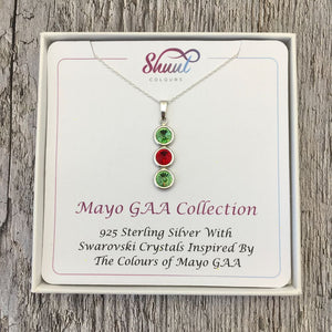 Mayo GAA Colours Sterling Silver & Swarovski Pendant Necklace - Shuul