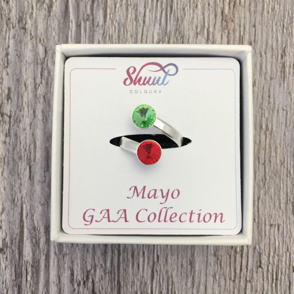 Mayo GAA Sterling Silver Ring with Swarovski Crystals