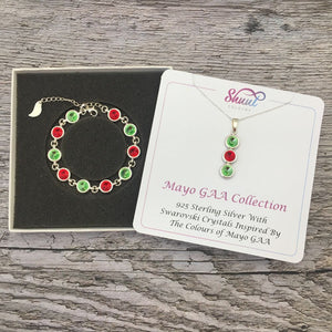 Mayo GAA Colours Sterling Silver Swarovski Necklace & Bracelet Set - Shuul