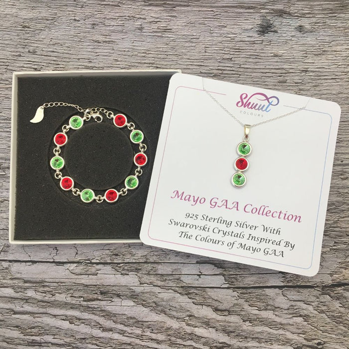 Mayo GAA Colours Sterling Silver Swarovski Necklace & Bracelet Set
