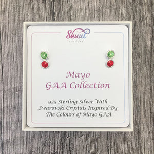 Mayo GAA Colours Sterling Silver Swarovski Earrings - Shuul