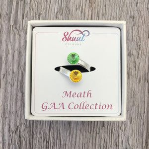 Meath GAA Sterling Silver Ring with Swarovski Crystals - Shuul