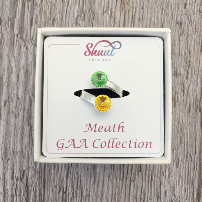 Meath GAA Sterling Silver Ring with Swarovski Crystals