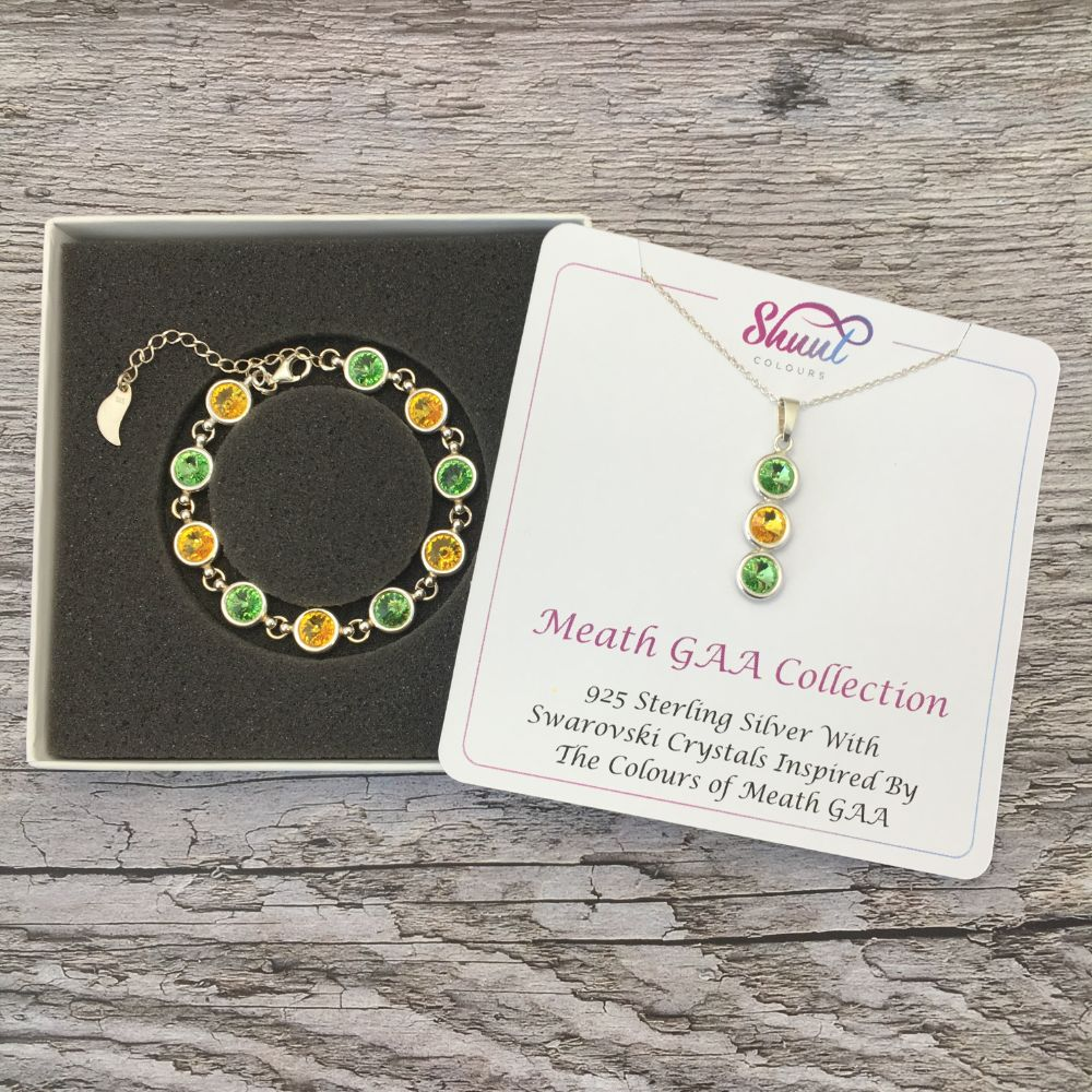Meath GAA Colours Sterling Silver Swarovski Necklace & Bracelet Set - Shuul