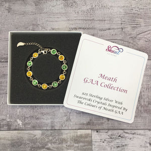 Meath GAA Colours Sterling Silver Swarovski Bracelet - Shuul