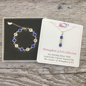Monaghan GAA Colours Sterling Silver Swarovski Necklace & Bracelet Set - Shuul