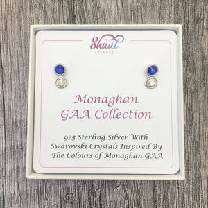 Monaghan GAA Colours Sterling Silver Swarovski Earrings