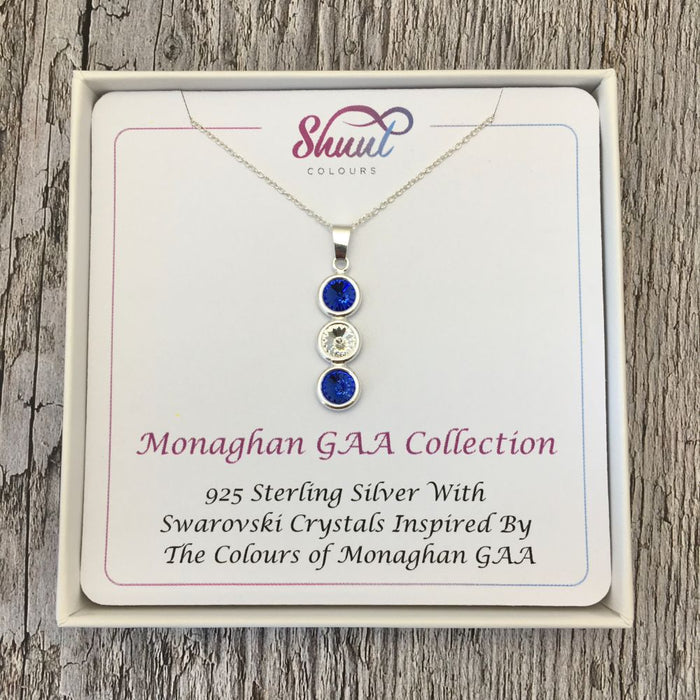 Monaghan GAA Colours Sterling Silver & Swarovski Pendant Necklace