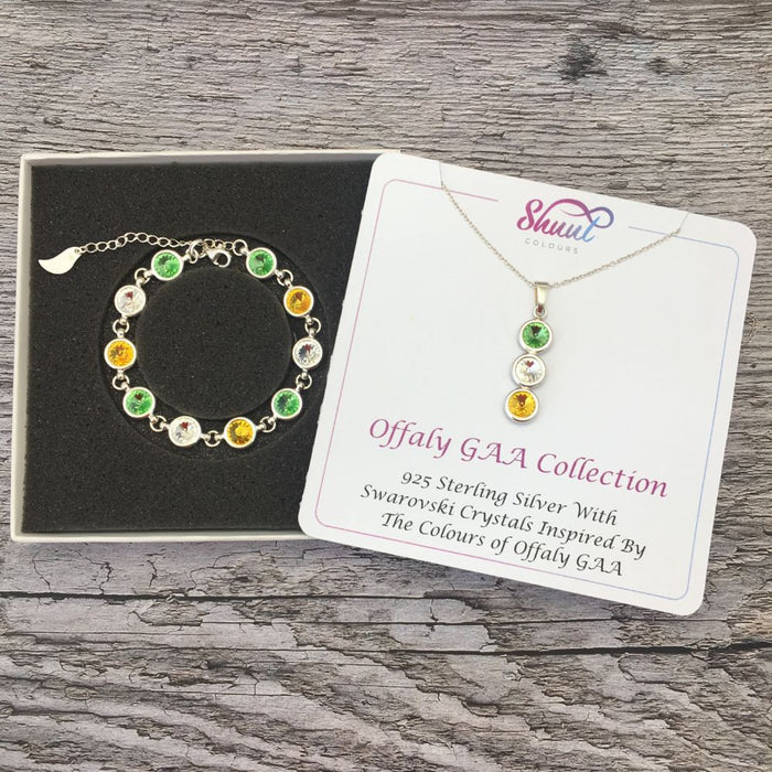 Offaly GAA Colours Sterling Silver Swarovski Necklace & Bracelet Set