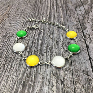 Offaly GAA Ladies County Colours Cabochon Bracelet