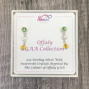 Offaly GAA Colours Sterling Silver Swarovski Earrings - Shuul