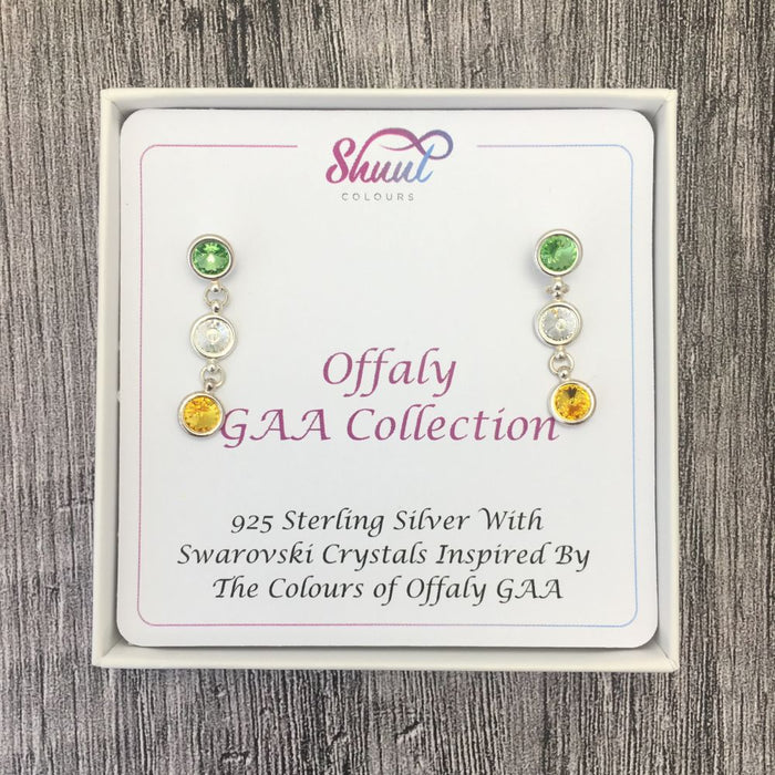 Offaly GAA Colours Sterling Silver Swarovski Earrings