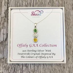 Offaly GAA Colours Sterling Silver & Swarovski Pendant Necklace - Shuul