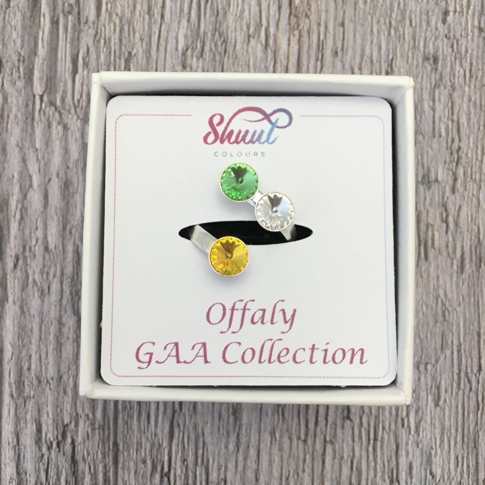 Offaly GAA Sterling Silver Ring with Swarovski Crystals