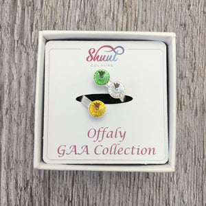Offaly GAA Sterling Silver Ring with Swarovski Crystals - Shuul