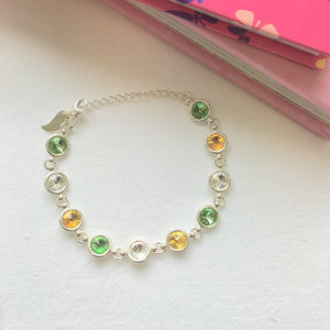 Offaly GAA Colours Inspired Sterling Silver Bracelet With Swarovski Crystals - Shuul