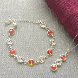 Armagh GAA Colours Sterling Silver Swarovski Necklace & Bracelet Set - Shuul