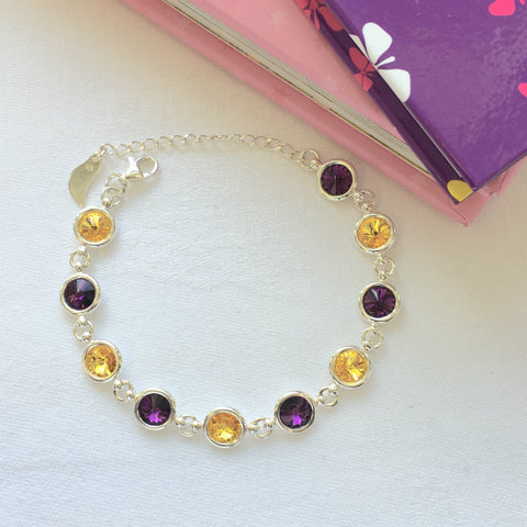 Wexford GAA Colours Inspired Sterling Silver Bracelet With Swarovski Crystals - Shuul