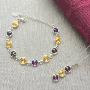 Wexford County GAA Colours Inspired Sterling Silver Pendant Necklace & Bracelet Gift Set With Genuine Swarovski Crystals - Shuul