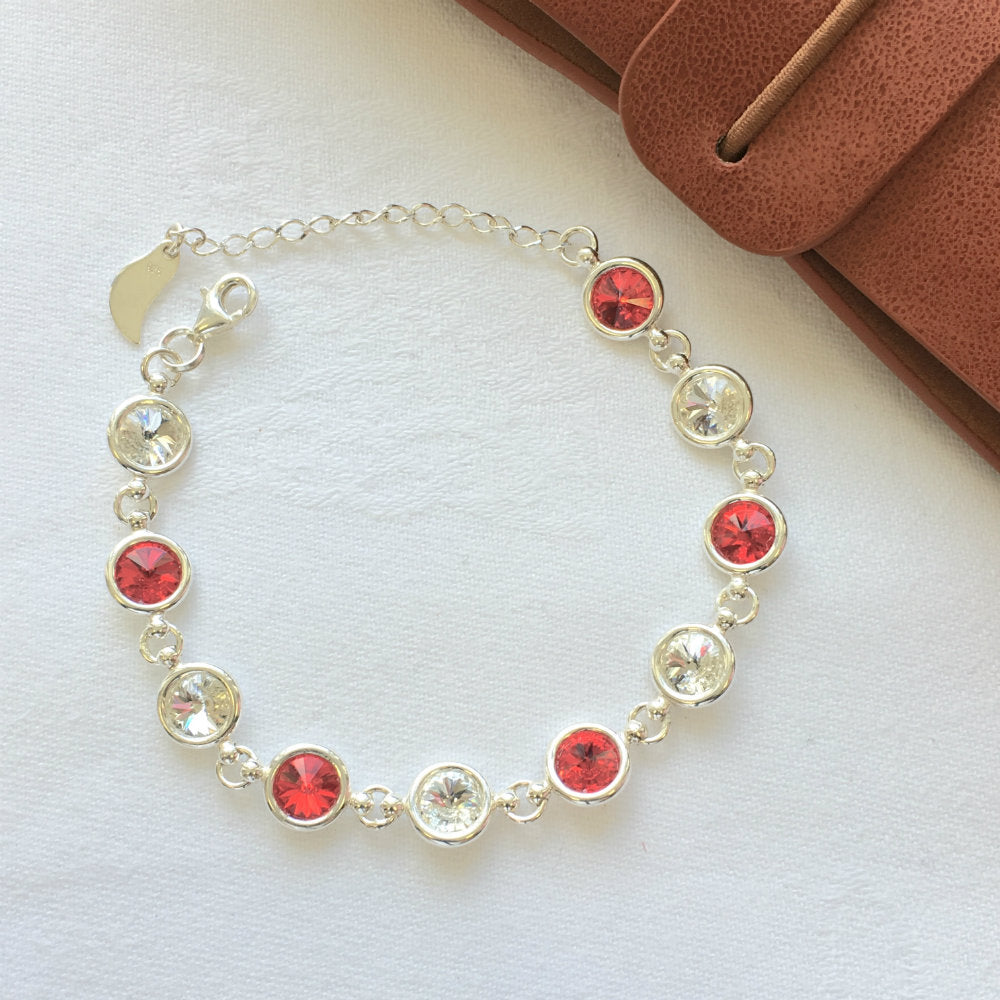 Derry GAA Colours Inspired Sterling Silver Bracelet With Swarovski Crystals - Shuul