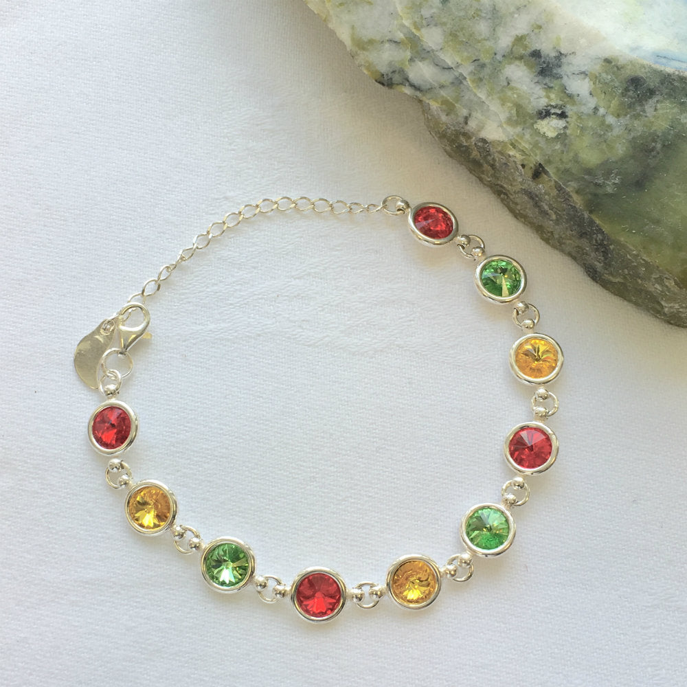 Carlow GAA Colours Inspired Sterling Silver Bracelet With Swarovski Crystals - Shuul