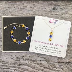 Roscommon GAA Colours Sterling Silver Swarovski Necklace & Bracelet Set - Shuul