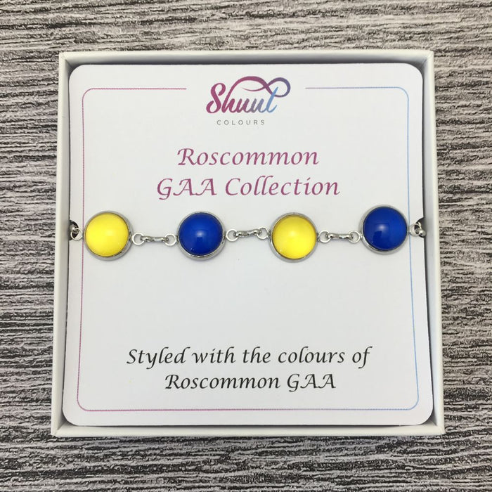 Roscommon GAA Ladies County Colours Cabochon Bracelet