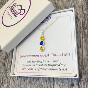 Roscommon GAA Colours Sterling Silver & Swarovski Pendant Necklace