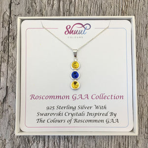 Roscommon GAA Colours Sterling Silver & Swarovski Pendant Necklace - Shuul