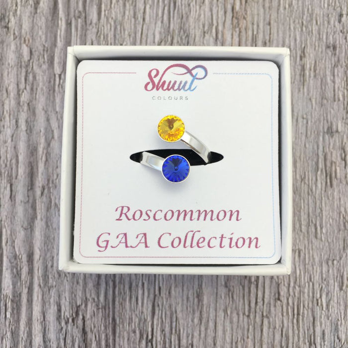 Roscommon GAA Sterling Silver Ring with Swarovski Crystals
