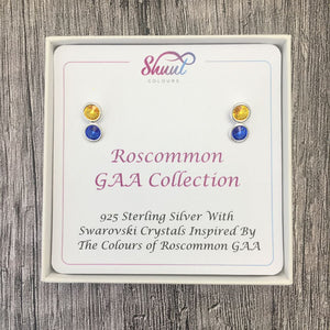 Roscommon GAA Colours Sterling Silver Swarovski Earrings - Shuul
