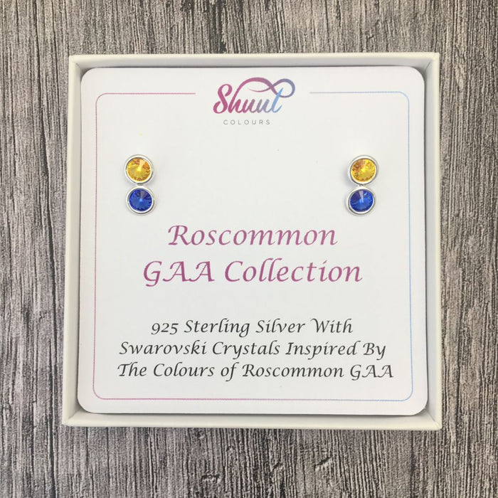 Roscommon GAA Colours Sterling Silver Swarovski Earrings